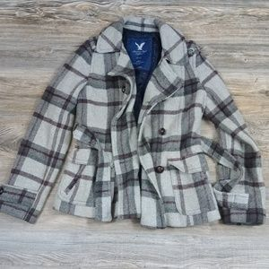 American Eagle Outfitters Plaid Wool Pea Coat